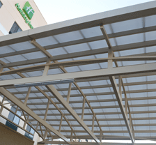 M.S. Fabricated Main Entrance Roof Fitted With Polycarbonate Sheets